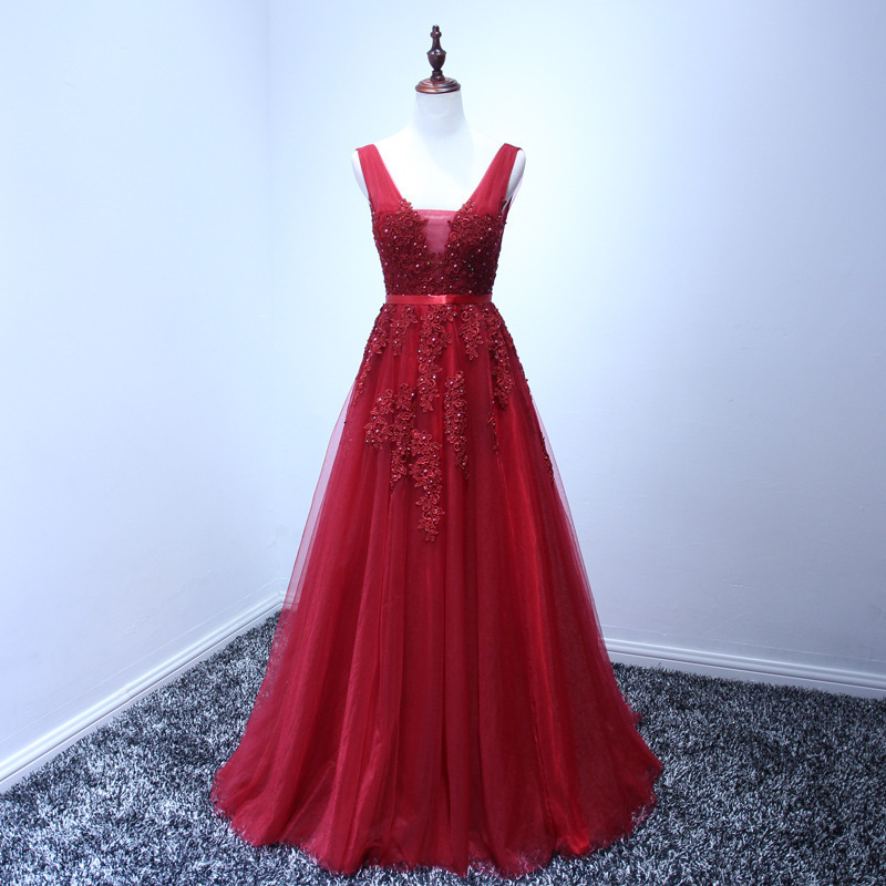 It's Yiiya New Sleevesless Romantic Grey Pink Formal   Dresses     Prom   Gown Plus Size V-neck Sex Party Long   Dresses   HMDH001