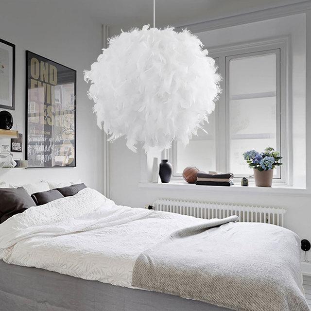 White Pink Modern Pendant Light Luxury Feather Droplight Bedroom Hanging Lamp Lamparas E27 110