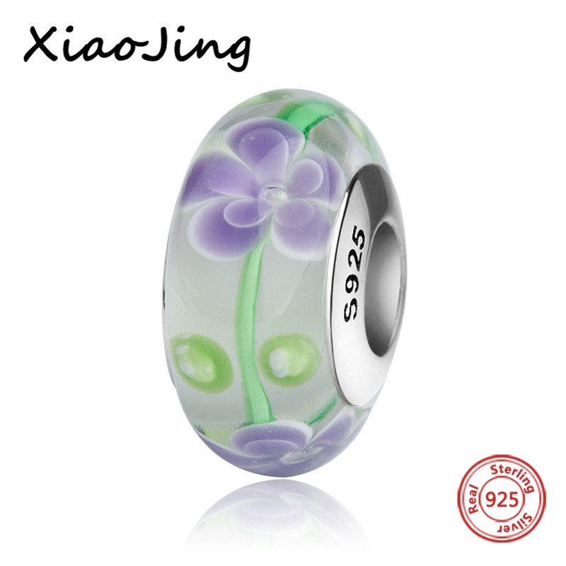 New recommend Murano glass beads diy purple flower charms 925 sterling silver fit authentic pandora bracelet jewelry women gift in Beads from Jewelry Accessories