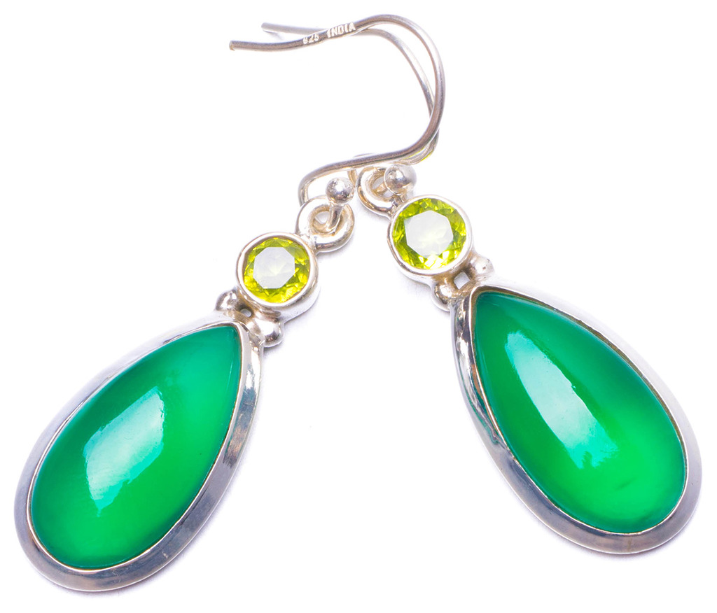 Natural Chrysoprase and Peridot Handmade Unique 925 Sterling Silver Earrings 1.75 Y0999 natural turquoise and peridot handmade unique 925 sterling silver earrings 1 5 y3381