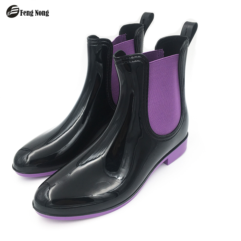 Fengnong Spring winter boots brand design solid rain boots elastic shoes woman solid rubber waterproof shoes chundong609