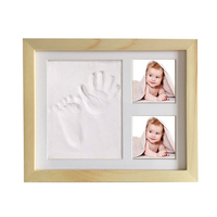 Creative wood photo frame with soft clay imprint for newborn baby Hand and foot Footprints imprint mold Creative Exquisite gift