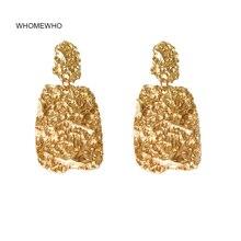 Earring Summer Gold Hammered Metal Irregular Minimalist Minimalism Earrings Korean Fashion Wedding Party Jewelry Accessory