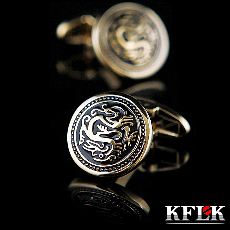 KFLK Jewelry French shirt cufflink for mens Brand Chinese Dragon Cuff link Luxury Wedding Button Gold High Quality Free Shipping