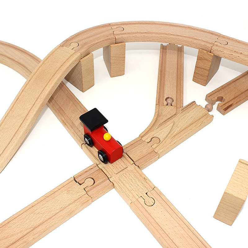 Wooden Train Track Accessories Train Railway Compatible With Wood Trains Wood Tracks Railway With All Brands Trains Dropshipping