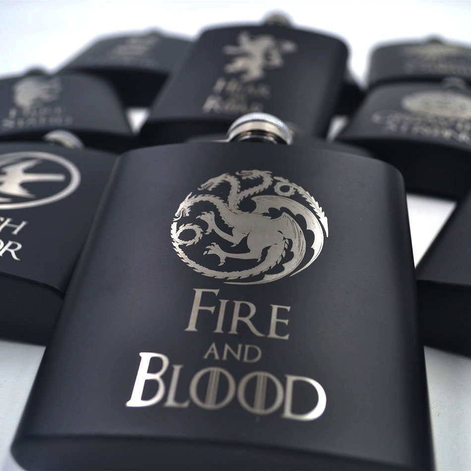 Game of Thrones 6oz Powder Coated stainless steel Black Hip Flask Laser Engraved Great for GOT fans in Hip Flasks from Home Garden