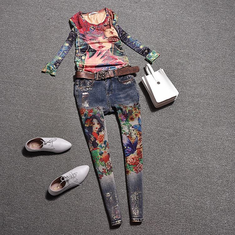 European station autumn casual girl print floral T-shirt top suit set  fashion casual jeans e4cdfa6ea956