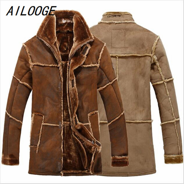 Stile europeo Vintage Spessore Caldo Lungo Inverno Giacca di Pelle Maschile  Cappotto di pelliccia Uomini Giacca d8bf8db8181