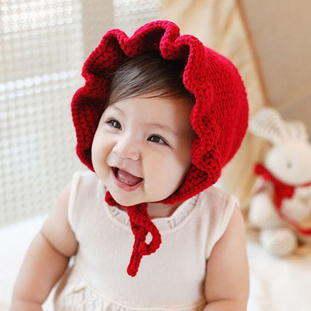 8f268c13252 Newborn Baby Girl Boy Lace Flounced Wool Cap Kids Knitted Warm Hat  acessorios newborn fotografia baby