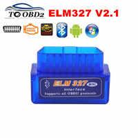 DHL Free Ship 50pcs/Lot Mini ELM327 V2.1 Bluetooth OBD2 Diagnostic Tool ELM 327 Works On Android/Windows OBDII Code Reader