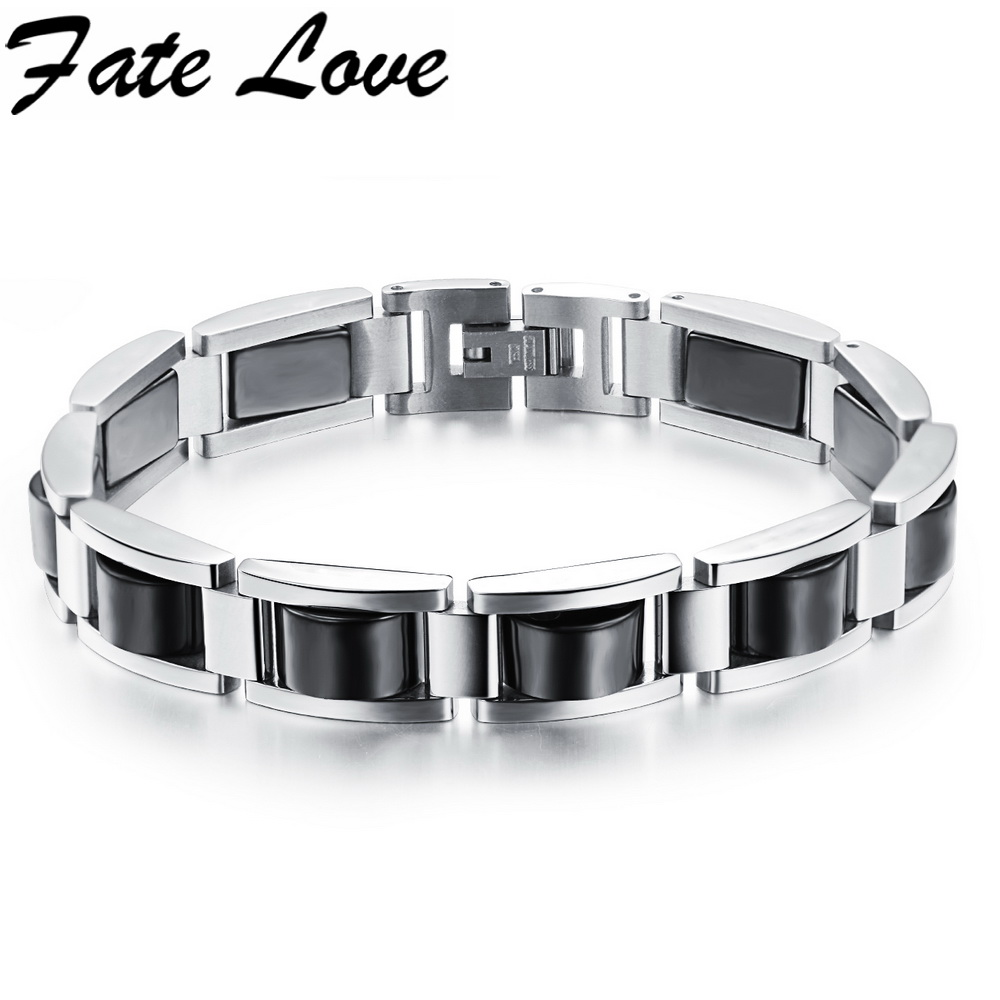 Magnetic Hematite Bracelet 316L Stainless Steel Bracelet Hematite LInk Chain For Mens Adjustable Length Punk Jewelry 751