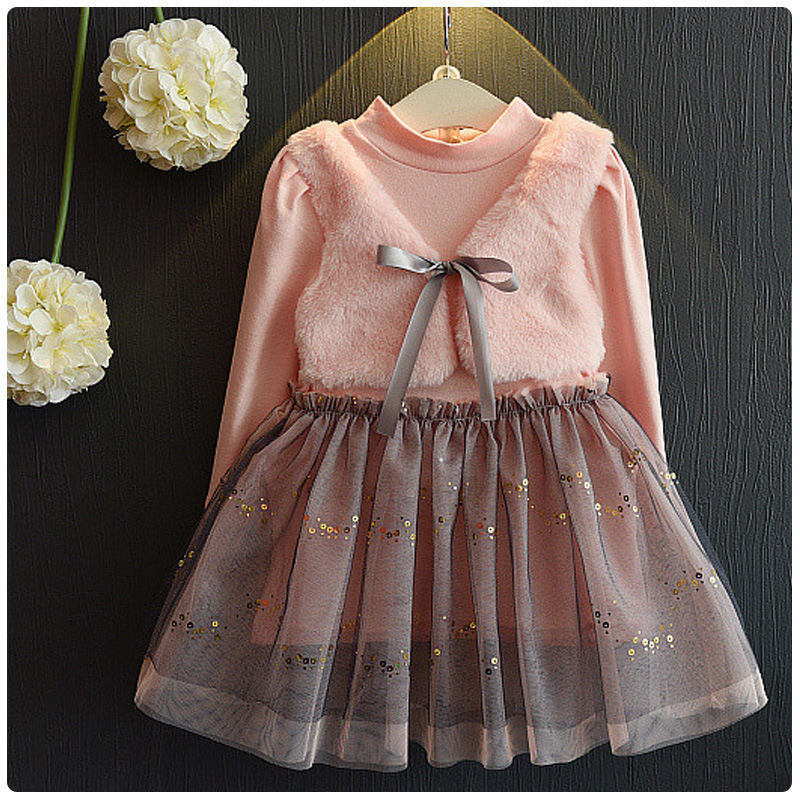Long sleeve girl dress New year kids pink lace vestidos robe princesse fille baby party wear - Shining Baby Store store