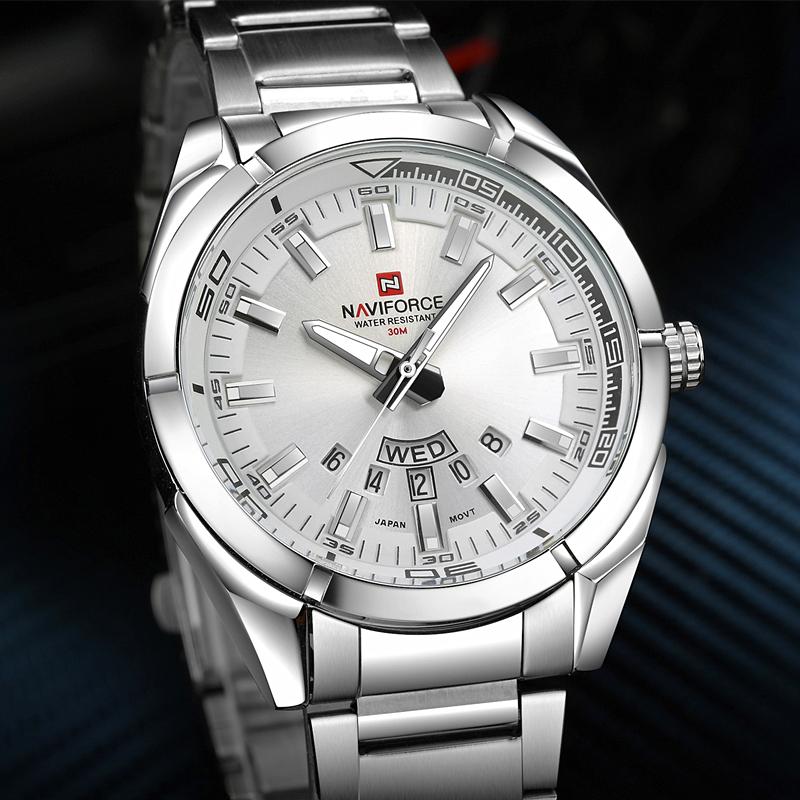 Prix pour NAVIFORCE Marque Hommes Montres Hommes d'affaires Montre À Quartz hommes de 30 M étanche en acier inoxydable montre-bracelet Homme Horloge relojes hombre