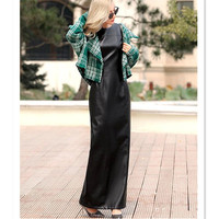 Winter Autumn Fashion Black Faux Leather Casual Sleeveless Long Bodycon Woman Dress 6XL 7XL Elegant Party