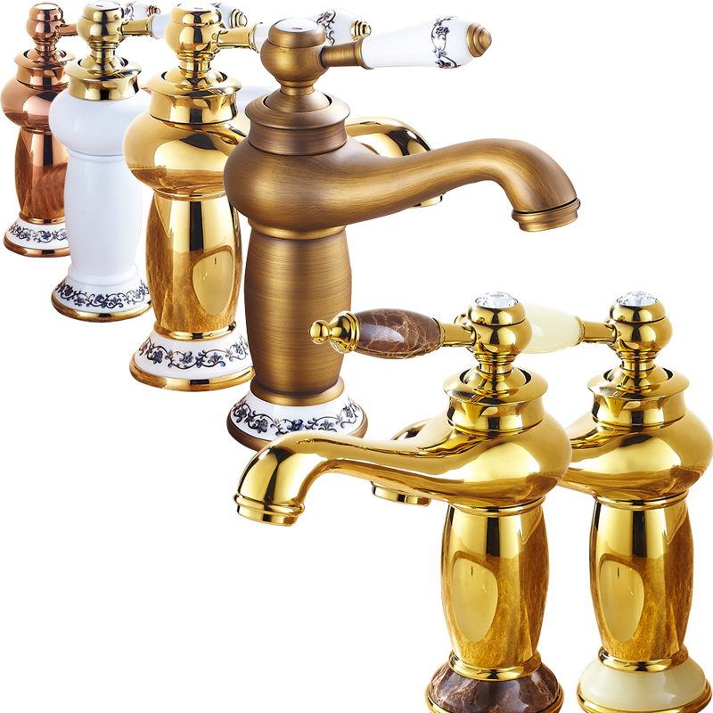Luxury Design Bathroom Short Brass Hot and Cold Tap Single Lever Basin Deck Mounted Faucet Free Shipping