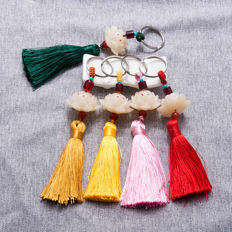 Sitaicery 2 шт./компл. Bodhi Lotus брелок с кистями, безопасная цепочка для ключей для мужчин и женщин, Подарочная сумка, автомобильные ключи, аксессуары на кольцо для ключей, брелок