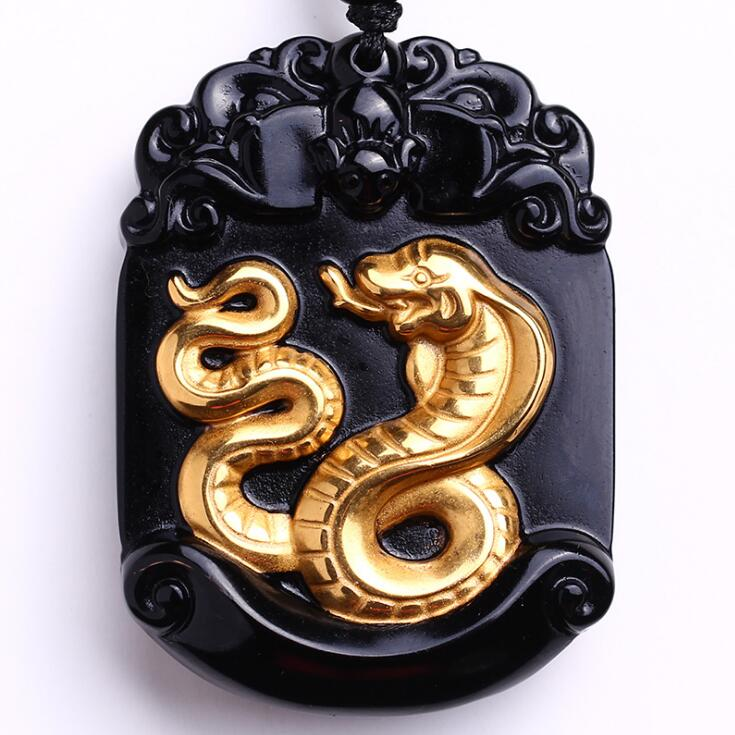 Beautiful Chinese natural obsidian carved gold obsidian zodiac snake lucky amulet for women and men pendant necklace stainless steel chinese zodiac keychain snake