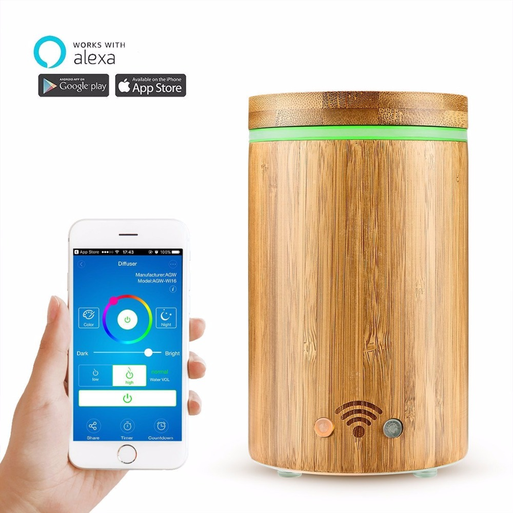 Free shipping Latest 160ml natural bamboo diffuser APP