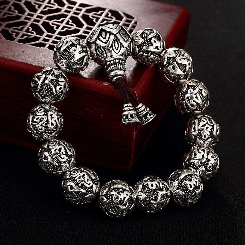 リアルソリッド 990 シルバー仏教ブレスレットメンズマントラビーズ彫刻 6 言葉 Om Mani パドメ Hum チベットの祈り弾性ロープ  グループ上の ジュエリー & アクセサリー からの ストランドブレスレット の中 1