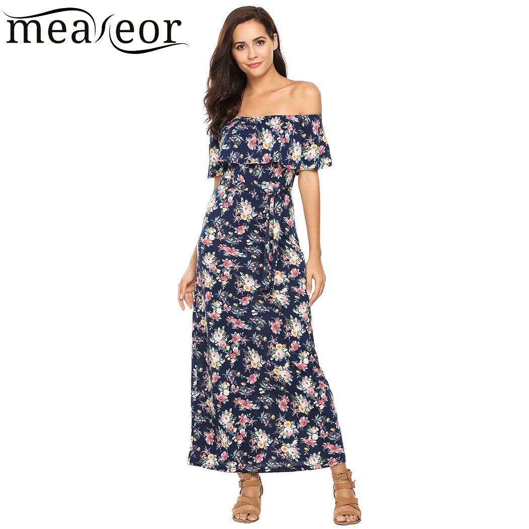 Meaneor Tropical Floral Print Dress Women's Off Shoulder Ruffles Beach Maxi Dress Belt Casual Slim Long Summer Dress Vestido