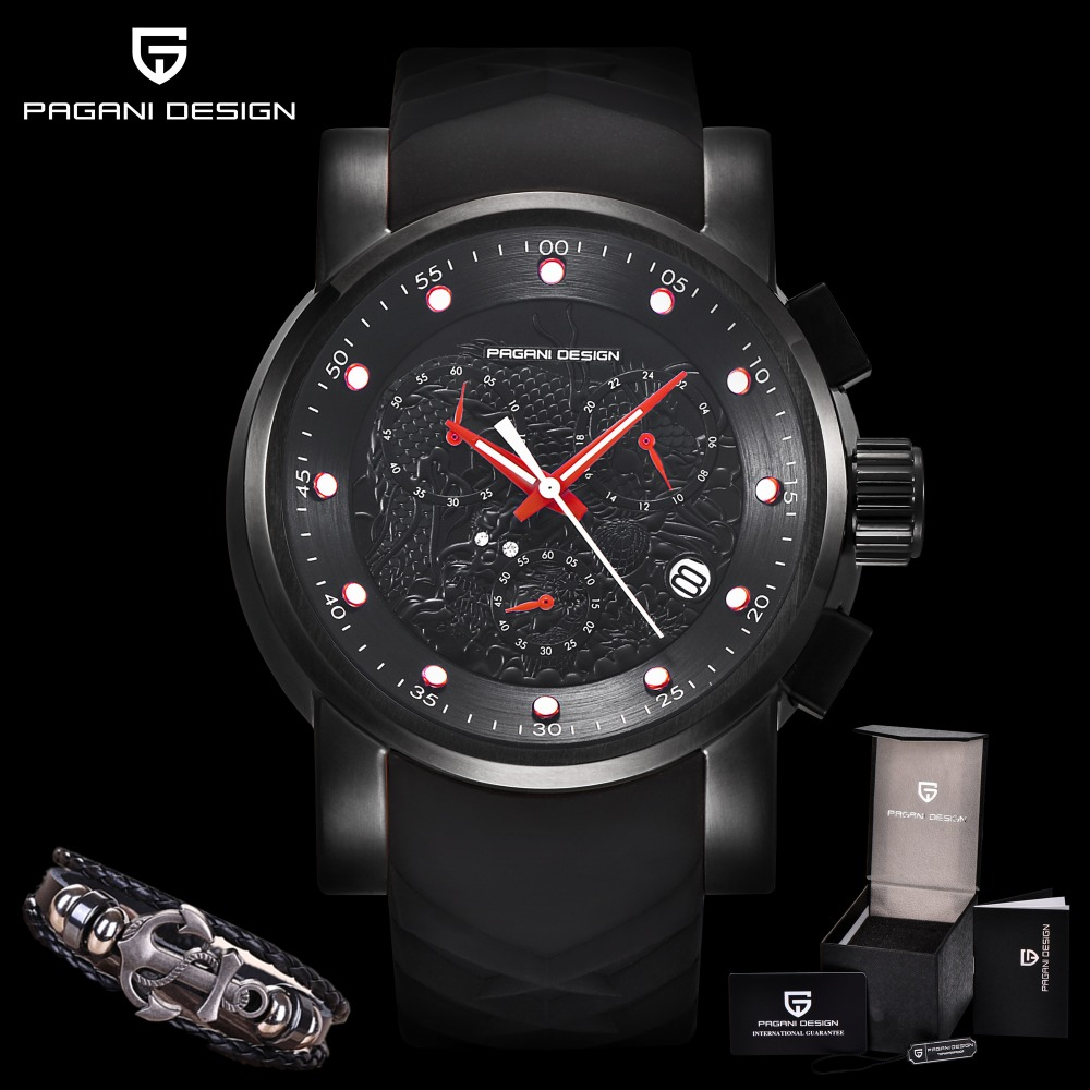 PAGANI DESIGN Chinese Dragon Chronograph Sport Watches Men Luxury Brand Silicone Strap Waterproof Quartz Watch Relogio Masculino reef tiger brand men s luxury swiss sport watches silicone quartz super grand chronograph super bright watch relogio masculino