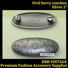 Lot of 10pc 2'' Western Berry Oval Concho Screwback Leathercraft Antique-Silver