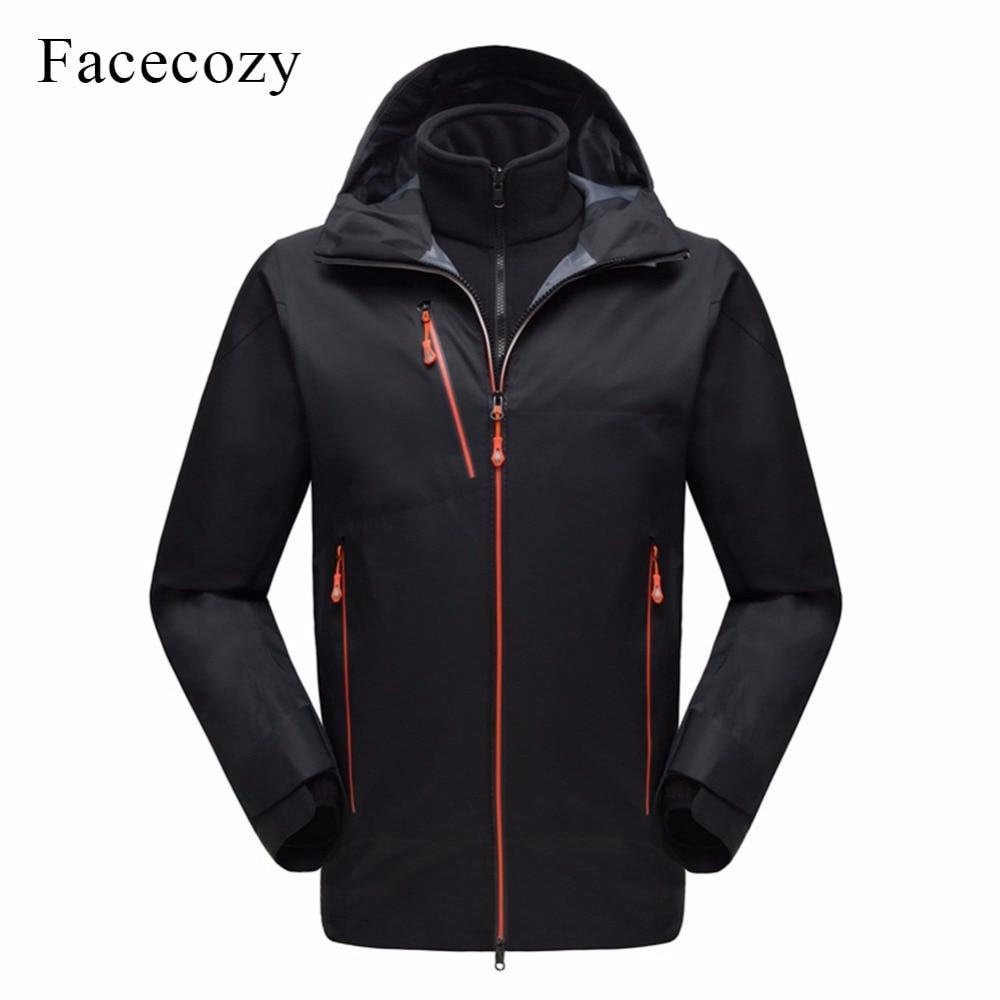 Facecozy Men Winter Waterproof 2Pcs Windbreaker Jackets Softshell Hooded Coat+Fleece Outer Male Windproof Camping Hiking Jacket facecozy men