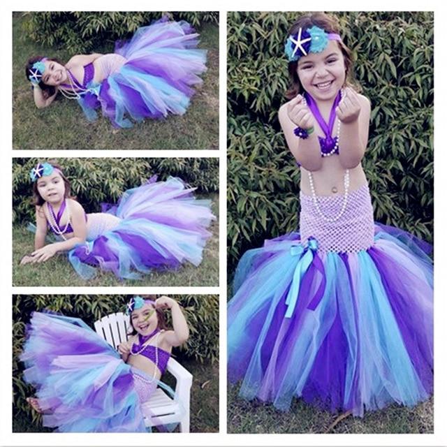 b75795ebf425f La petite sirène princesse Ariel Cosplay Tutu robe séparée filles rubans  Lolita Style Midriff-baring