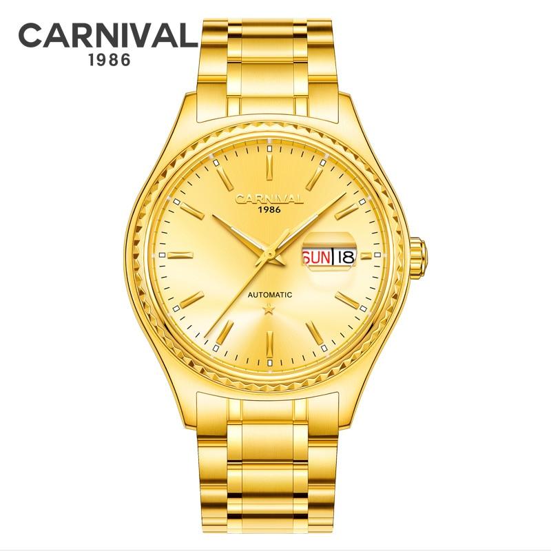 CARNIVAL Golden Steel Men Automatic Mechanical Watch Luxury Top Brand Synthetic Sapphire Waterproof relogio