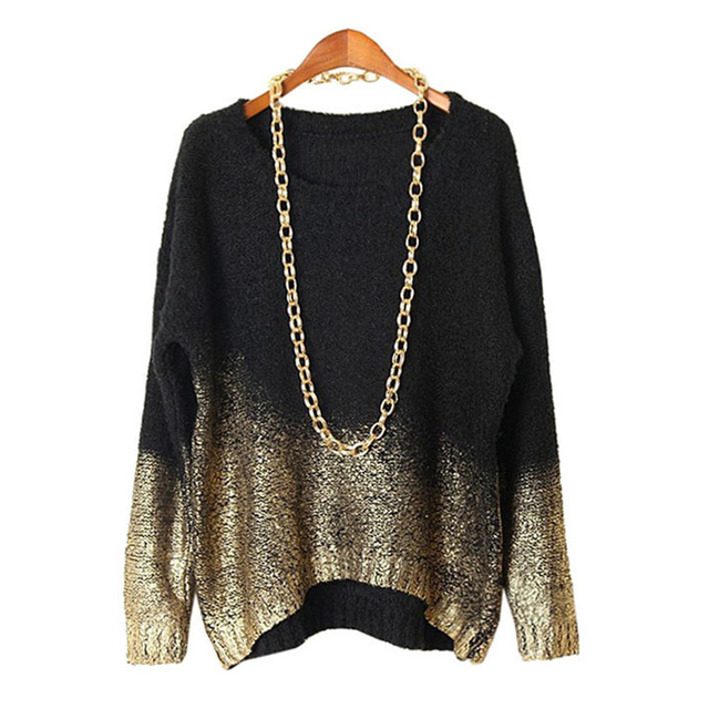 Gold Hot Stamping Sweater Women 2016 New Fashion Style O-neck Loose Long Sleeve Knitted Pullovers Gradient Color sweater
