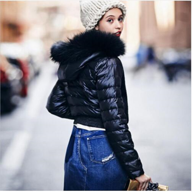 Real fur collar 90% duck   down     coat   fashion brand hooded short   down   jacket women's knit stitching thicker warm   coat