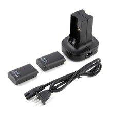 Горячее предложение 1 шт. США plug зарядная станция зарядное устройство док+ 2 мАч 4800 перезаряжаемые батарея для Xbox 360