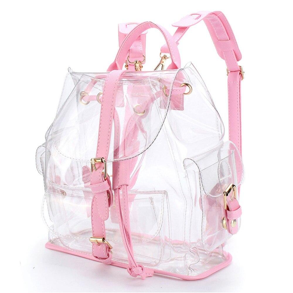 2018 Frauen Klar Kunststoff Sehen Sicherheit Transparent Rucksack Strand Tasche Mit Mode Stil Tasche Reisetasche # Zs