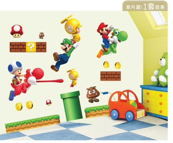 1pcs Cartoon Super Mario Wall Stickers For Kids Rooms Home Decor Baby Child Wallpaper Art Decals