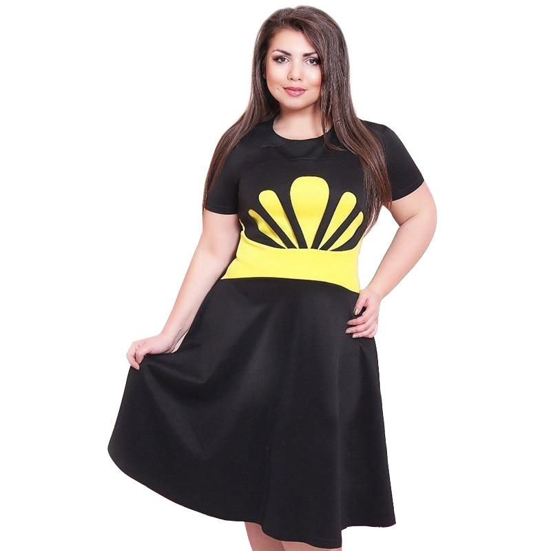 c857c5cd86b8b الجديد 2017 الخريف الصيف النساء اللباس طباعة نمط كم قصير فساتين عادية زائد  الحجم 5xl 6xl vestidos
