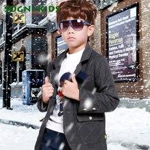 SOGNI ДЕТИ Хлопка Плед Куртки Искусственного Меха С Капюшоном Пальто Малыша Мальчиков Однобортный верхней Одежды Зимой Толстые Молния Outwears