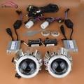 CA 2.5 pulgadas Faros HID Bi xenon Lente Del Proyector Angel Eyes de Halo Conjunto completo Kit de Luz de Xenón H1 H4 H7 Alta Haz de Luz Baja Del Coche Retrofit