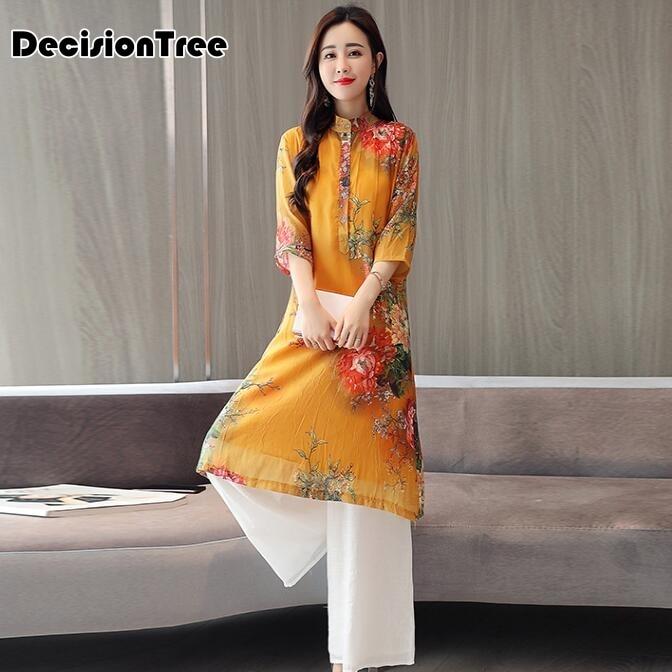 2019 summer classic style cheongsam dress dress antique red cheongsam printing vietnam aodai ao dai dress