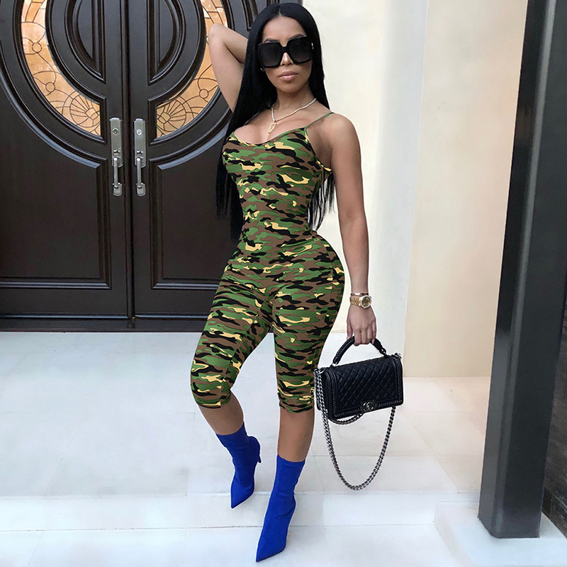 Camouflage Sexy Sleeveless Romper 2019 New Arrivals Camo One Piece Outfit Playsuit Bodycon Jumpsuit Overalls