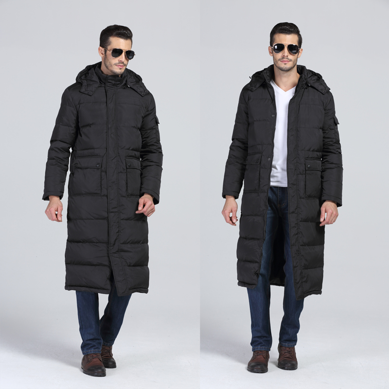 S- 2XL 3XL Extra Long Down Jacket Snow Winter Plus Size X-long Design Thick Men Coat Thin Hoody Big Men's Clothing Outerwear