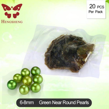 HENGSHENG 20 PCs Seawater Peal Oysters with 6-8 mm Green Nearly Round Loose Pearls Inside Mix Color Love Wish