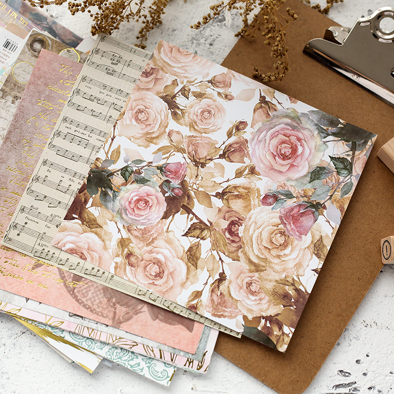 ENO Greeting 6inch Paper Pad For Decoupage Diy Flower Decorative Papers Metallic Gold Scrapbooking Papers Craft Papers