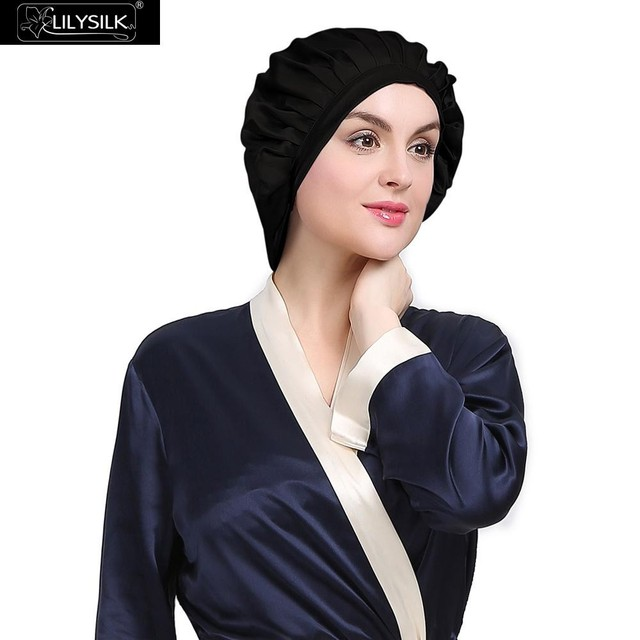 Lilysilk Nature Silk Sleeping Cap Night Women Winter Hair Skin Care Bonnet Hat Mobcap Ladies Soft Breathable Bandana Headwrap