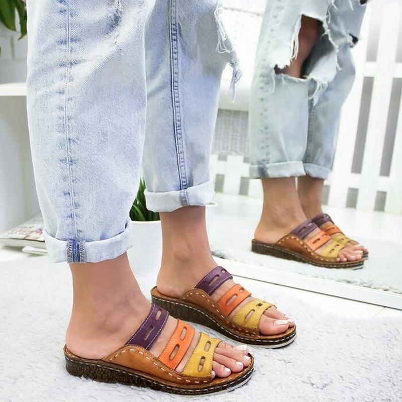 Three-color Mosaic Sandals Summer Beach 2019 Summer New Women's Sandals Flat Shoes Comfortable Women's Slippers Sandals Women(China)