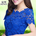 M-XXXXXL New 2016 Fashion Ladies Blouses Shirts Plus size Clothing Summer Women's Short-sleeve  Lace Tops Female 7 Colors
