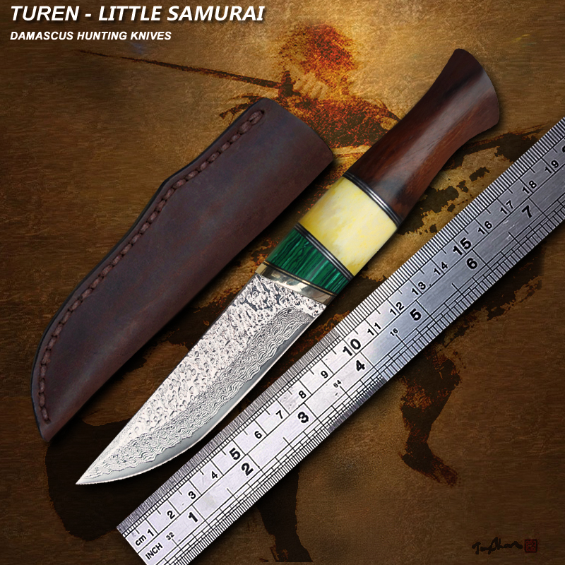TUREN Little Samurai 60 HRC Handmade Damascus hunting straight knife rosewood bone turquoise handle with cowhide