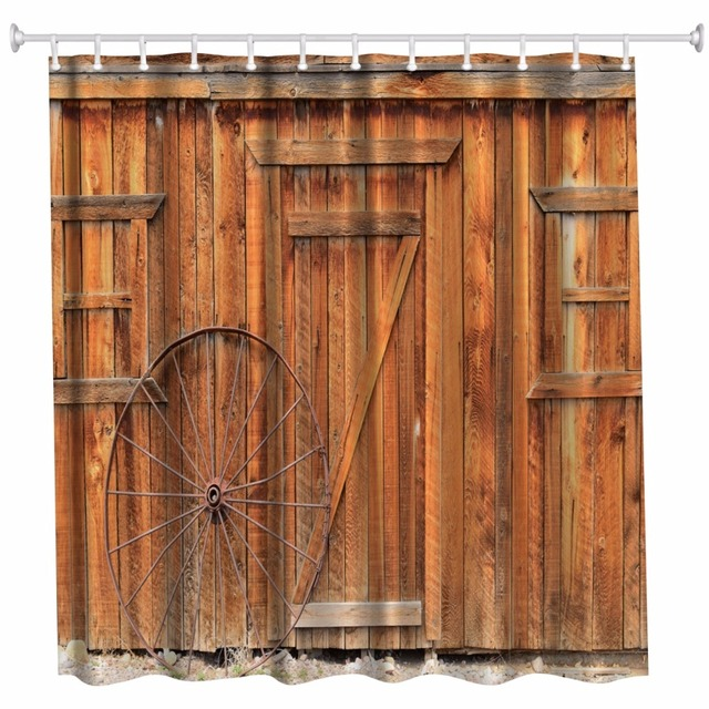3D New Vintage Timber Bathroom Shower Curtains Waterproof Polyester Wood Door Bath Hooks Douche