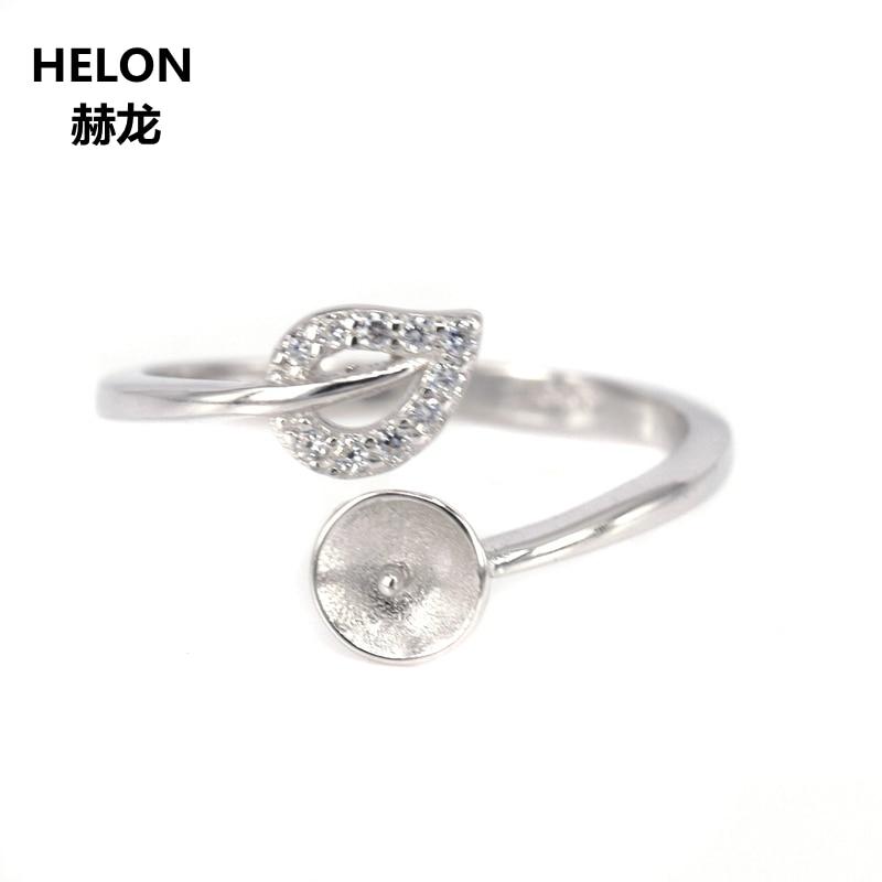 20 шт./лот Оптовая Продажа 925 пробы Серебряное обручальное кольцо для женщин Кристалл 6 мм 12 мм круглый шарик и жемчуг полу крепление Rinig