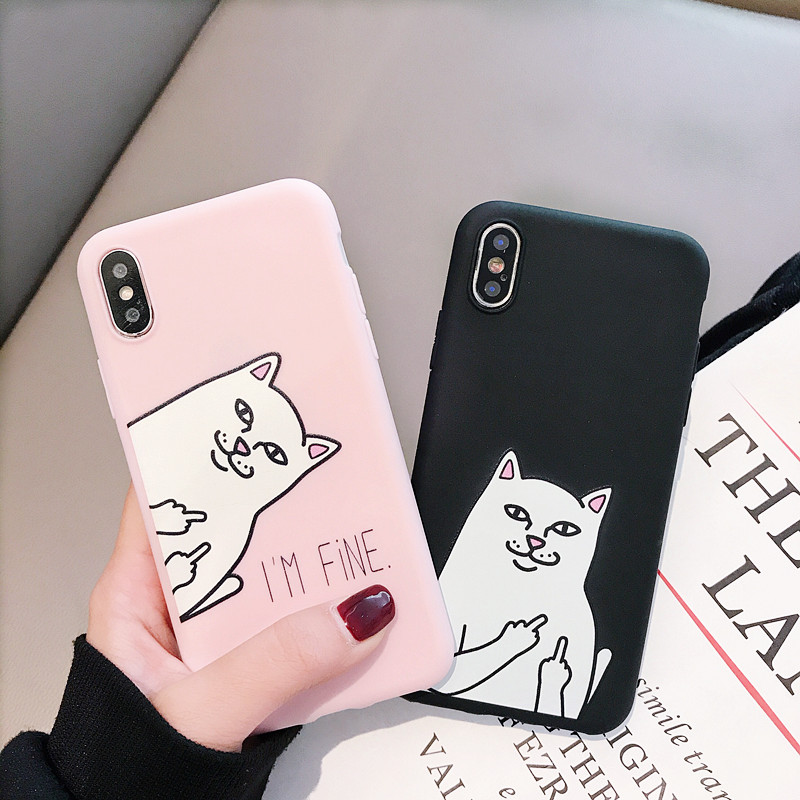 Cute Cat <font><b>Silicone</b></font> Cover For <font><b>Xiaomi</b></font> <font><b>Mi</b></font> 5 5S 5X 6 6X 8 Lite 9 SE 9T Pro A1 <font><b>A2</b></font> A3 Lite Play Note 10 Case Funny Coque <font><b>Capa</b></font> image