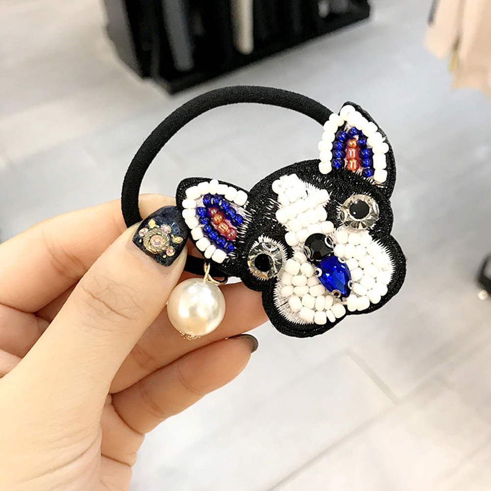 Korean Simple Cute Cartoon Bulldog Imitation Pearl Elastic Hair Bands Girl Women Dog Animal Fashion Headdress Hair Accessories